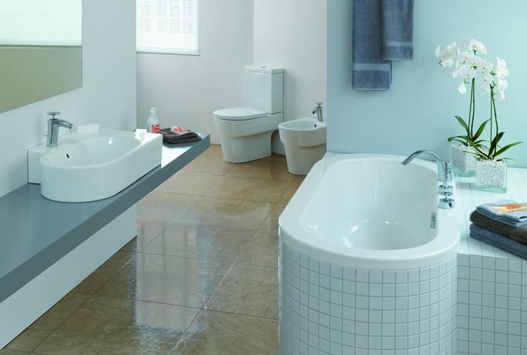 baño moderno celeste